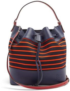Loewe Midnight leather and striped canvas bucket bag