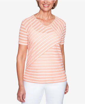 Alfred Dunner Los Cabos Spliced Scalloped-Trim Top