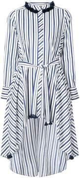 Figue pompom-embellished striped belted shirt