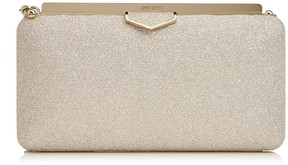 Jimmy Choo ELLIPSE Platinum Ice Dusty Glitter Clutch Bag