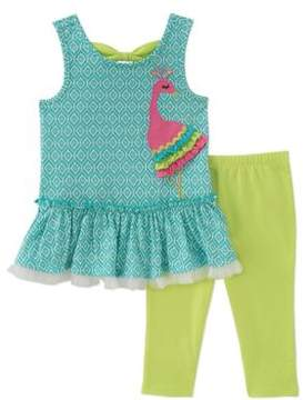 Kids Headquarters Baby Girl's Two-Piece Ruffled Tunic and Capri Pants Set
