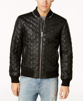 GUESS Men's Star-Quilted Bomber Jacket