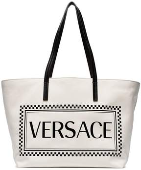 Versace white logo print canvas tote bag