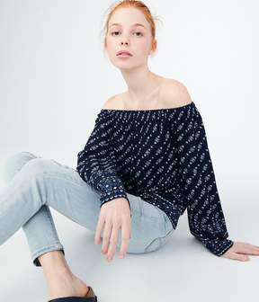 Aeropostale Long Sleeve Floral Off-The-Shoulder Top