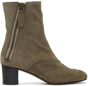 Chloé Grey Suede Lexie Boots