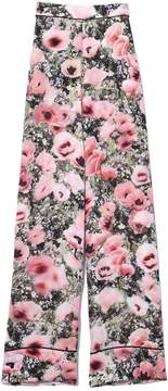 Fleur Du Mal Wide Leg Pant With Cuff In Poppy