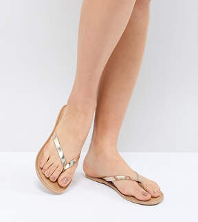 London Rebel Leather Flat Sandals