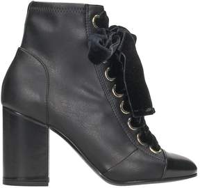 Grey Mer Black Leather Anlke Boots