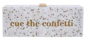 La Regale Cue The Confetti Acylic Box Clutch.