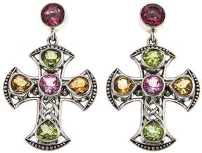 Celtic Nicky Butler Collection Pink Topaz and Multigem Cross Earrings