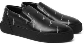 Balenciaga Printed Leather Slip-On Sneakers