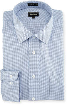 Neiman Marcus Non-Iron Classic-Fit Non-Iron Basketweave Check Dress Shirt, Blue