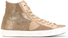 Philippe Model lace-up metallic sneakers