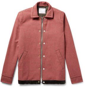 Sacai Suede And Velvet-Trimmed Wool-Blend Tweed Jacket