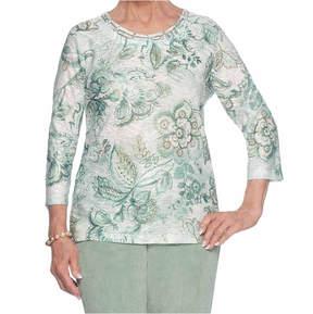 Alfred Dunner Winter Garden 3/4 Sleeve Crew Neck T-Shirt-Womens