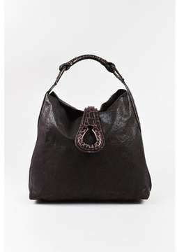 Giorgio Armani Pre-owned Brown Crocodile Leather Hobo Shoulder Bag.