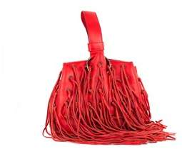 Roberto Cavalli Red Leather Eyelet Fringe Wristlet Bucket Bag