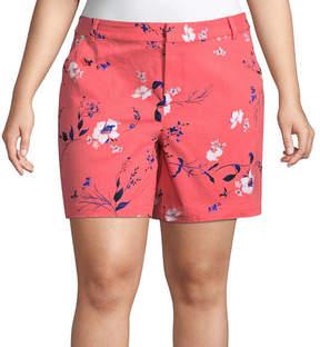 Boutique + + 7 Floral Twill Shorts - Plus