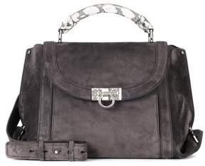 Salvatore Ferragamo Snakeskin-trimmed suede shoulder bag