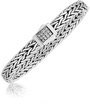 Ice Sterling Silver Braided Men's Bracelet with a White Sapphire Accented Clasp