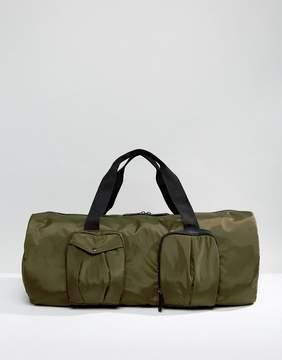 Asos Barrel Bag In Khaki With Pocket Detail