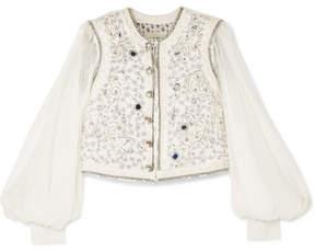 Etro Embellished Cotton-blend Cloqué And Silk-chiffon Gilet - Ivory