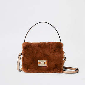 River Island Brown faux fur flap cross body bag