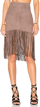 Bishop + Young Suede Fringe Skirt
