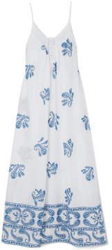 Vanessa Bruno Izais Lace-trimmed Embroidered Cotton-voile Maxi Dress - White