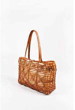Nancy Gonzalez Pre-owned Brown Crocodile Leather Woven Canvas Basket Tote Bag.