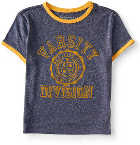 Aeropostale Varsity Division Ringer Crop Baby Tee