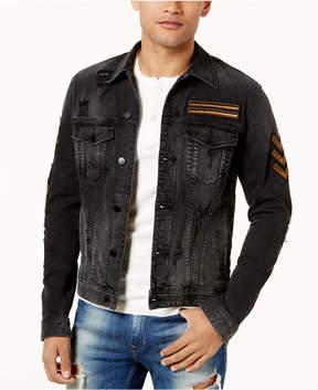 GUESS Men's Deconstructed Patch Denim Jacket