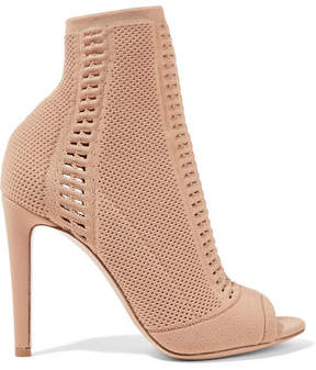 Gianvito Rossi Vires 105 Peep-toe Perforated Stretch-knit Ankle Boots - Sand