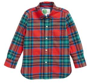 Boden Mini Cozy Festive Plaid Shirt