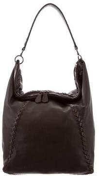 Bottega Veneta Intrecciato-Trimmed Leather Hobo