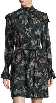 Donna Morgan Smocked Floral-Print Belted Shift Dress