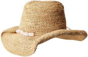 San Diego Hat Company RHC1074 Crochet Raffia Cowboy w/ Turqoise Bead Trim Traditional Hats