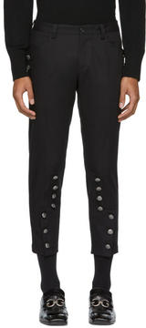 Dolce & Gabbana Black Cropped Button Trousers