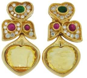 Bulgari Bvlgari Heart Yellow Sapphire Diamond Gold Earrings