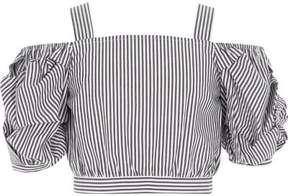River Island Girls grey stripe puff sleeve bardot crop top