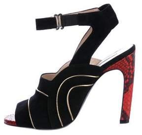 Dries Van Noten Suede Ankle Strap Sandals