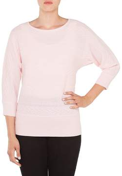 Allison Daley Petites 3/4 Dolman Sleeve Wide Crew-Neck Pullover