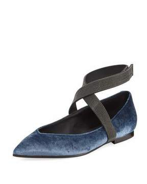 Brunello Cucinelli Velvet Skimmer with Monili Trim