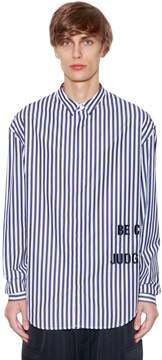 Juun.J Striped Cotton Poplin Shirt W/Embroidery