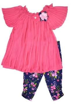 Nannette Toddler Girl Swiss Dot Short Sleeve Top & Capri Leggings, 2Pc Oufit Set