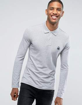 Benetton Muscle Fit Long Sleeve Polo Shirt In Gray