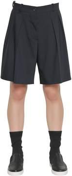 Jil Sander Navy Pleated Stretch Cool Wool Shorts