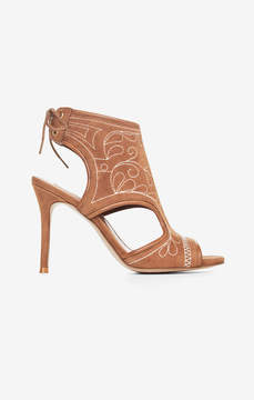BCBGMAXAZRIA Myah Embroidered Faux-Suede Sandal