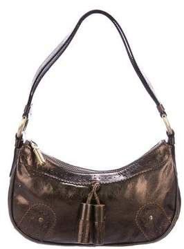 Burberry Metallic Leather Zip Shoulder Bag