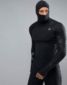 Reebok Training Scuba Hoodie With Hex Reflective Detailing In Black BQ3612